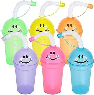 ArtCreativity 笑脸鸭嘴杯带吸管和盖子,12 件套,有趣的各种颜色,7 盎司塑料派对吸管杯,儿童霓虹派对礼品,生日用品和礼品袋填充器