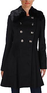Via Spiga 女士中长款修身喇叭形双排扣羊毛外套,带人造毛领