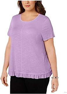 Style & Co. 女式短袖褶皱下摆 T 恤