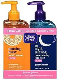 Clean & Clear Burst Burst 日夜洁面乳,2件装,柑橘,含维生素C和黄瓜,含海矿物质的夜间轻松洁面乳,无油,低致敏性,16盎司(约453.59克),4