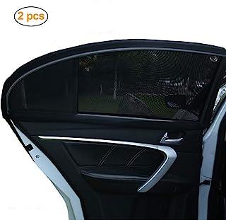 通用汽车侧窗遮阳罩(2 件装)可阻挡紫外线罩优质透气网眼遮阳罩适合汽车,保护儿童宠物 黑色 Window sunshade-rear