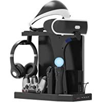 PlayStation 立式支架 - ElecGear PS4 充电站,散热风扇冷却器,PSVR耳机存储架,DualSh…