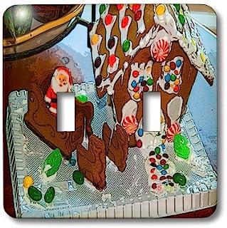 3dRose LLC lsp_52615_2 姜饼面包屋由一个孩子和圣诞老人在他的雪橇之上和经后化,双拨动开关
