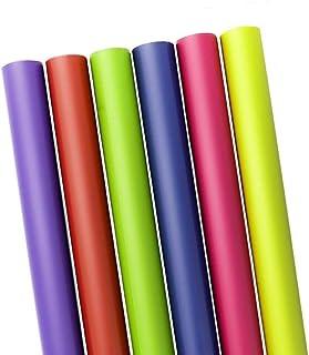 6 件装礼品包装纸,纯色,蓝色/红色/紫色/黄色/粉色/柠檬绿