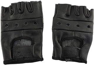 Open Knuckle 无指黑色皮革摩托车手套 XL