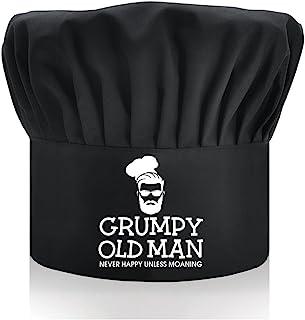 DYJYBMY Grumpy Old Man,成人可调节厨房烹饪帽,带弹性带厨师贝克帽黑色,有趣的烧烤厨师帽,适合男士,爸爸,丈夫,烧烤烧烤礼品