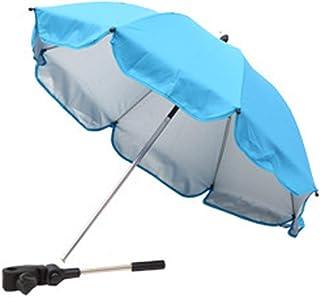 婴儿车雨伞,夹式通用可拆卸婴儿车雨伞遮阳伞灵活手臂手动打开婴儿推车雨伞,适用于沙滩椅、婴儿车、四轮车(浅蓝色)