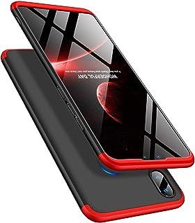 LEECOCO 华为 Y9 2019 手机壳 纤薄全机身保护套 3 in 1 Black Red AR