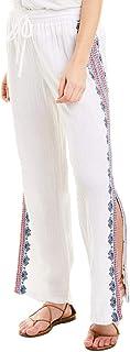 Johnny Was 女式 Dani 侧开式抽绳棉质纱布裤白色