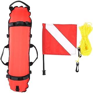 Asixx 潜水球,可充气浮球,水肺潜水鱼雷浮标信号球,带有旗帜,用于潜水和浮潜