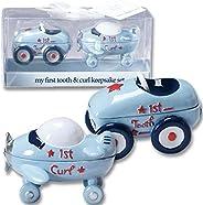 First Tooth and Curl 纪念品套装 - 2¼ x 3 英寸 - 男孩/赛车/飞机/迎婴派对/新婴儿/新孙子