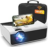 迷你投影仪,5000Lux 便携式 WiFi 投影仪,全高清 1080P 支持,同步智能手机屏幕,兼容智能手机、电视棒、HDMI、USB、AV家庭娱乐/户外电影