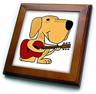 all smiles ART Dogs–FUNNY 黄色拉布拉多寻回犬玩吉他–框架瓷砖