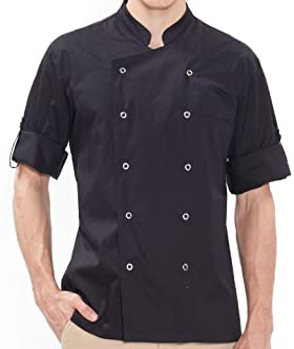 BE THE CHEF Performance 七分袖卷式厨师外套黑色带凉爽网眼面板,适用于餐厅、咖啡馆、酒吧