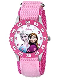 Disney W000970《冰雪奇緣》冰雪公主卡通形象兒童手表,配粉色尼龍表帶