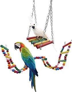 kcrygogo 12 步鹦鹉爬梯木彩色梯子玩具鸟笼站悬挂桥和彩色木制秋千鸟鼠仓鼠仓鼠(2 件装)
