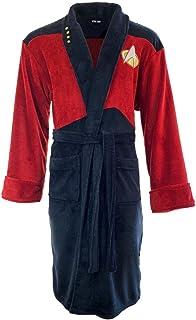 Groovy Star Trek 浴袍 睡袍 男式长袍 官方 Merch Red Picard,黑色,均码