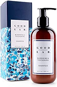 Good Lab 盛开和加厚洗发水,适用于*、*和*发。 内含 DHT 阻塞剂和*剂。 天然成分制造。 无硫酸盐洗发露。 所有*类型 8.5 fl oz
