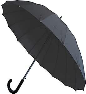 颈部和袖口伦敦 - 防风 60MPH - 16 根伞骨,*度 - 三层加强框架带玻璃 - StormProtector 直筒伞 - 自动开合 - 黑色遮蓬