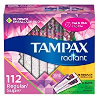 Tampax Radiant 塑料衛生棉條,常規腹部,無香味,28 支裝,4 支裝(共 112 支) 無香型 標準型/特大號 Regular/Super - Pack of 4 112