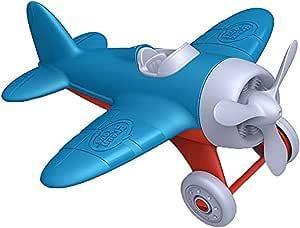 Green Toys 玩具飞机——不含双酚A,邻苯二甲酸盐,蓝色航空运输玩具车,帮助传输航空知识,提高抓地力