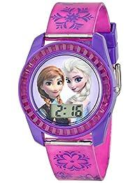 Disney 冰雪奇緣兒童數字手表表盤上印有 Elsa 和 Anna,紫色表殼,舒適的粉色表帶,易于搭扣,兒童* - 型號:FZN3598