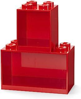 Room Copenhagen 乐高积木架套装 – 包括 4 个柱子和 8 个柱形砖盒架,红色
