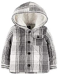 OshKosh 婴儿仿羊羔绒连帽内衬夹棉格子夹克尺码 24 个月