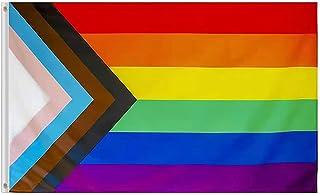 Inclusive Progress Pride 彩虹国旗 3x5 户外颜色鲜艳双性恋 LGBTQ 社区横幅非二进制跨性别*骄傲女*旗帜