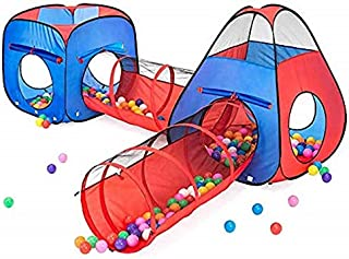 Kiddzery 4 件套儿童游戏帐篷弹出式球坑 - 2 个帐篷 + 2 个爬行隧道 - 男孩女孩、儿童幼儿和婴儿儿童帐篷 室内和室外大型游戏屋 带手提箱 很棒的礼物