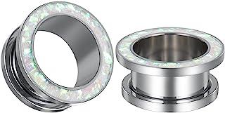 COOEAR 1 对规格耳环圆形假蛋白石隧道耳塞肉拉伸器扩展器 0 克至 1 英寸。