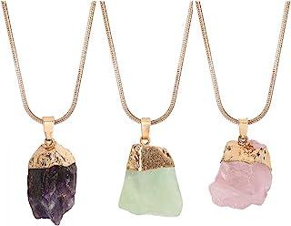 Joan Nunu 天然原生紫水晶石吊坠项链女士*查克拉水晶 三条不同链子