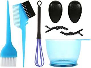 8 件套*剂套装,带*碗*染色刷*着色工具套件*刷工具包*刷工具,适用于沙龙家庭着色染料套件(蓝色)