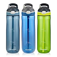Contigo 康迪克 AUTOSPOUT Ashland吸管水瓶,24盎司/710毫升,摩納哥藍/亮青檸色/暴風雨灰,3件裝