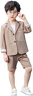 男童格子西装外套套装休闲西装经典儿童 2 件套运动外套套装
