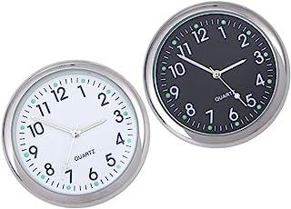 Wakauto 汽车仪表板时钟,2 件小型圆形汽车仪表板时钟夜光 粘附 夜光指针时钟数字时钟 适用于汽车 SUV 汽车