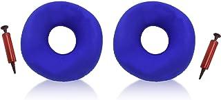 2 件蓝色充气环垫,带泵,圆形轮椅坐垫,甜甜圈枕头垫,适用于家庭、办公室、汽车、徒步旅行、露营、旅行、办公桌休息、颈部和腰部支撑