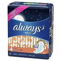 ALWAYS Maxi 4 带护翼的过夜卫生巾,无味,33 片