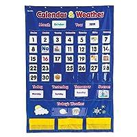 Learning Resources 日历和天气袖珍表,教室组织用具,136件,多色,30 3/4 x 44 1/4