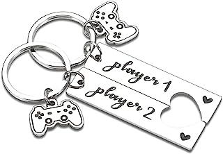 情侣钥匙链礼物男朋友他来自女友她的搞笑匹配游戏玩家礼物男女情人节圣诞节生日礼物妻子球员 1 球员 2 纪念品
