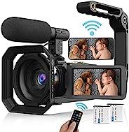 摄像机摄像机,4K 视频记录摄像机,适用于 YouTube 超高清 48MP 60FPS 数码相机录像机 0122-5