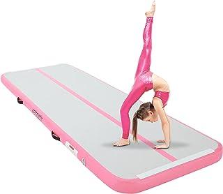 AECOJOY 充气轨道 10 英尺/14 英尺/16 英尺/20 英尺体操训练垫 4 英寸厚度翻滚轨道垫适用于家庭使用/训练/健身房/水池