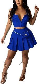 女式 2 件套俱乐部服装休闲露脐性感打底裤短裤套装迷你溜冰裙套装运动服装套装