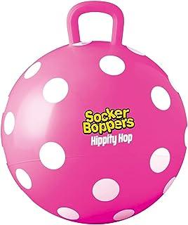 Socker Boppers 嬉皮跳球,充气跳球 15 英寸(约 38.1 厘米)儿童球,粉色波尔卡圆点,室内和室外乐趣,耐用重型乙烯基,EZ 手柄,促进平衡 - 协调强度