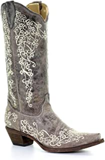corral 女式棕色 CRATER *绣西部靴