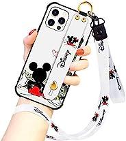 迪士尼系列 iPhone 12 PRO MAX 手机壳,迪士尼米奇情侣街时尚腕带保护手机壳全身保险杠挂绳保护套适用于 iPhone 12 PRO MAX 6.7 英寸 2020