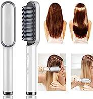 2 合 1 直发梳,直发器采用梳子,快速加热和 5 种温度设置和防烫,非常适合在家专业沙龙(白色)