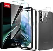 4 件装 AsBellt S21 屏幕保护膜钢化玻璃2 件装 + 2 件相机镜头保护膜 [易于安装的托盘] 9H 硬度[防碎] [适合手机壳] 适用于三星 Galaxy S21(6.2 英寸)