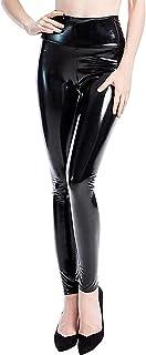 Falags 高腰人造皮革打底裤女士闪亮乳胶裤性感朋克黑色 PU 紧身长裤