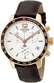 Tissot Men's T0954173603700 Rose Gold-Tone Chronograph Watch with Brown Leather